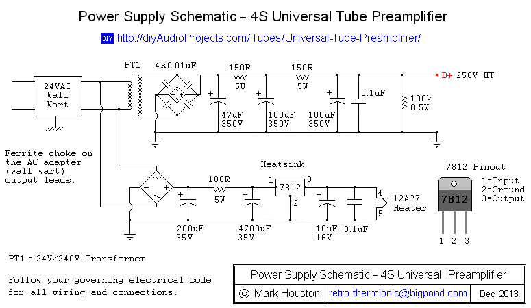 Power Supply Schematic 4s Universal Valve Preamplifier