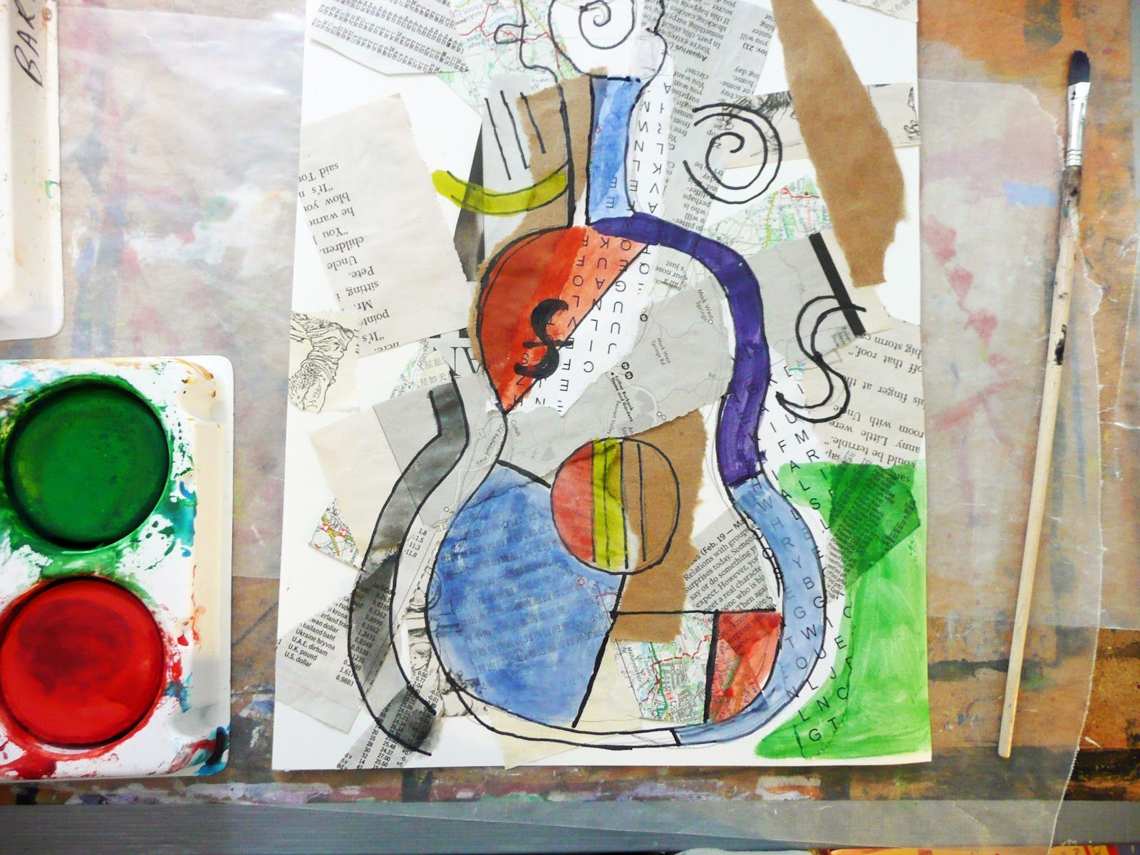 that artist woman In the Style of Picasso Guitar Collage