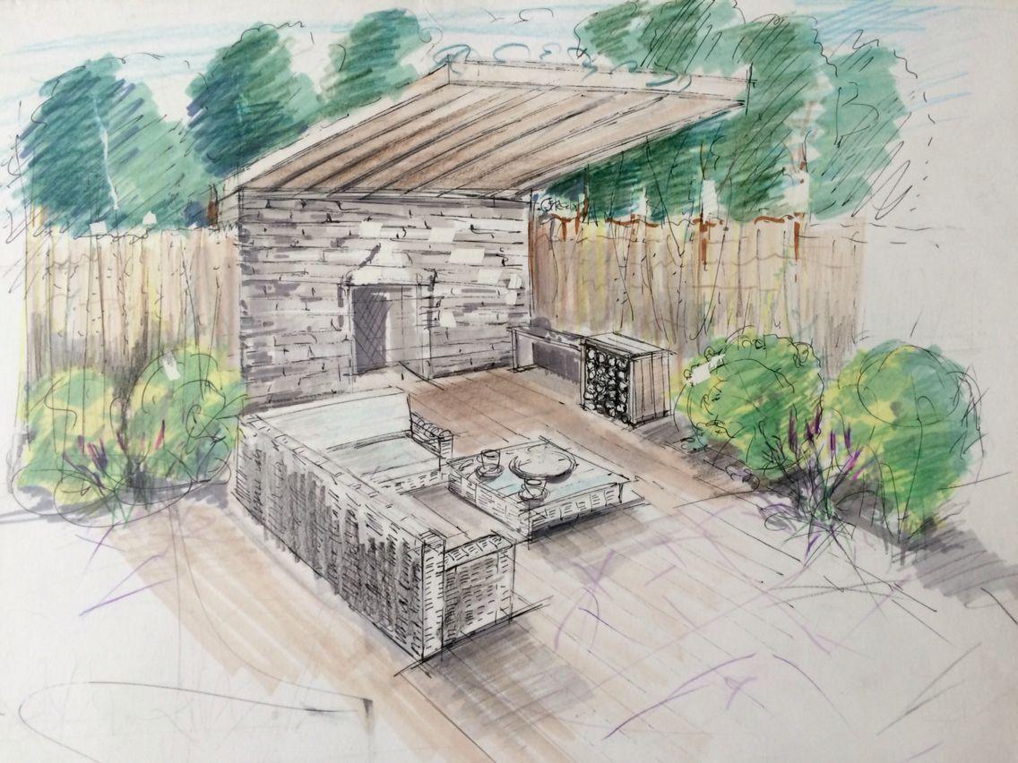 Amenagement Jardin Perspective Dessin Aux Feutre Cours De Dessin