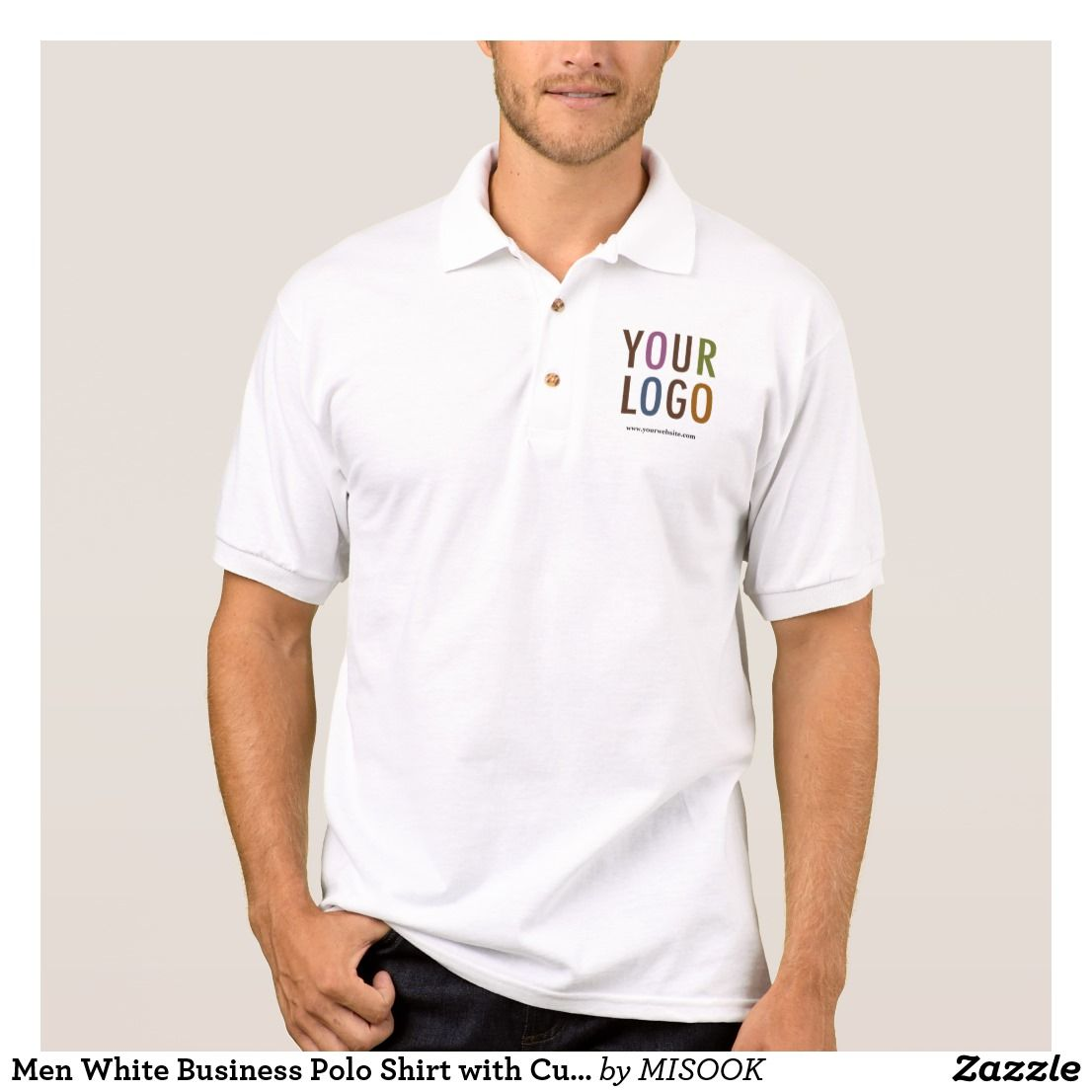 Men White Business Polo Shirt With Custom Logo Custom Business