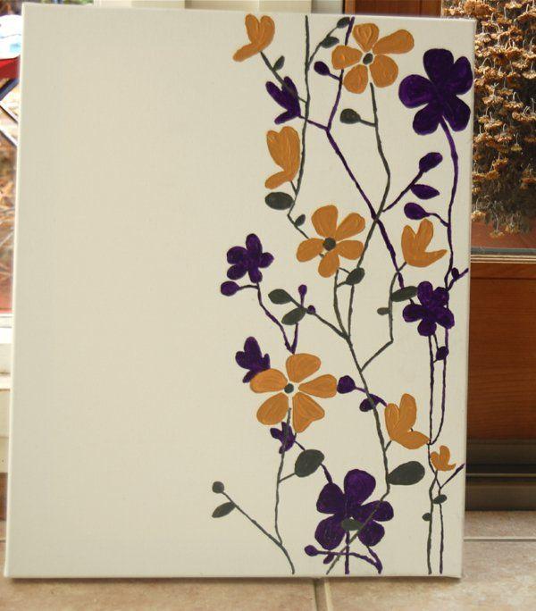 diy moderne weiß Leinwandbilder blüten Bilder malen Pinterest - wanddekoration selber machen