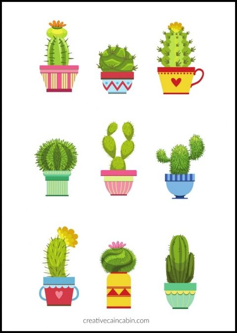 graphic relating to Cactus Printable referred to as Pin upon Paper Craft