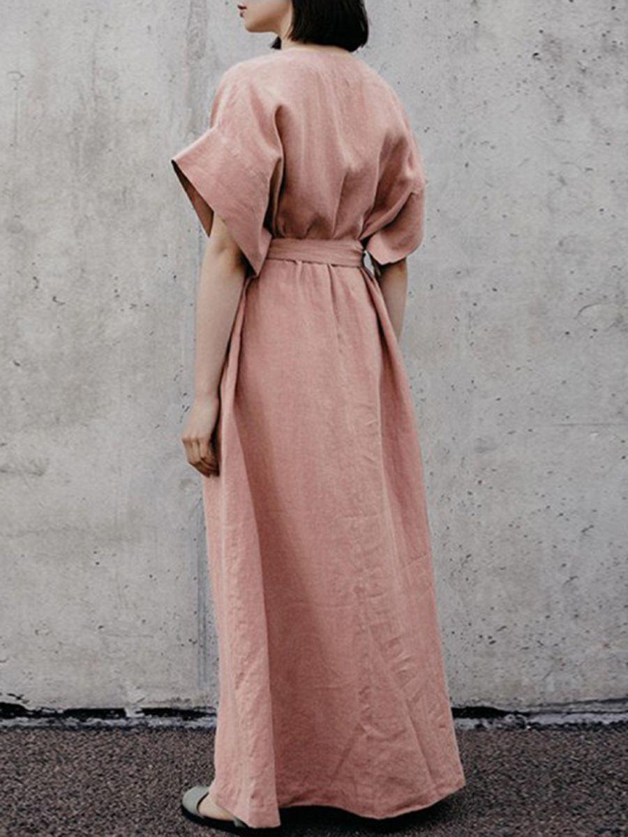 9ba8d72309a V-Neck Belt Plain Linen Shift Dress in 2019