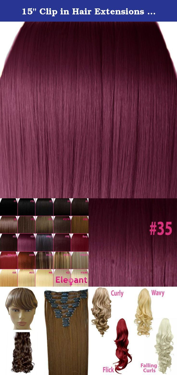 15 Clip In Hair Extensions Straight Rich Wine 35 Full Head 8pcs