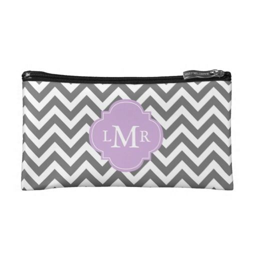 Gray and Lavender Zigzags Personalized Monogram Wristlet Clutch