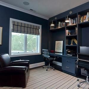 Michael Abrams Dens Libraries Offices Navy Blue Walls