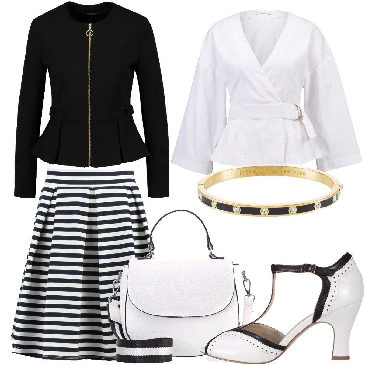 best service 35a99 30f73 Con le righe in bianco e nero: outfit donna Bon Ton per ...