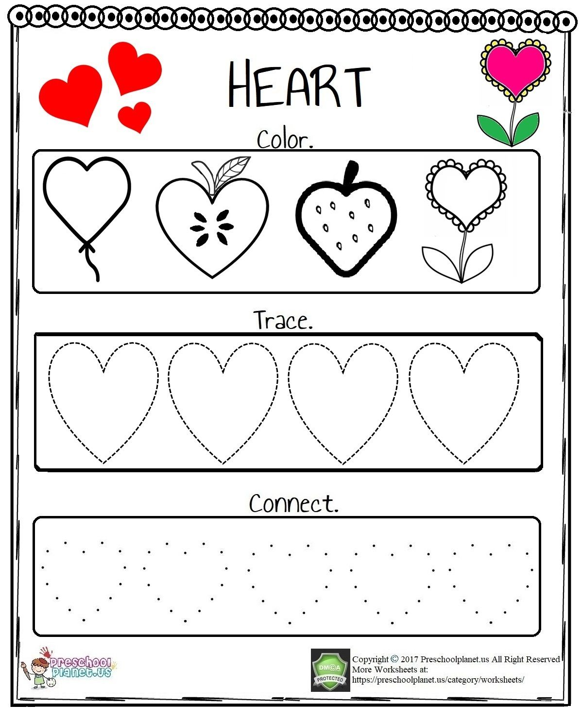 We Prepare A Lovely Heart Worksheet For Preschoolers And