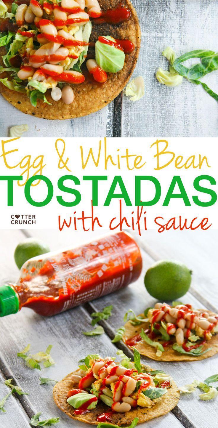 Gluten free egg and white bean tostadas with chili sauce