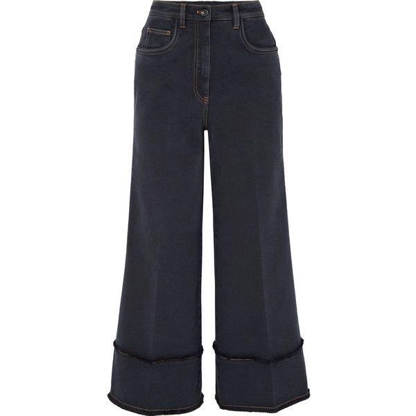 Cropped Frayed High-rise Wide-leg Jeans - Dark denim Miu Miu XsjxU