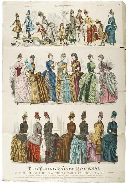 Fashion plate, 1886 UK, The Young Ladies' Journal