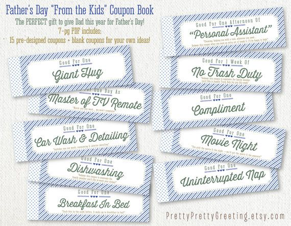 printable happy fathers day coupon book