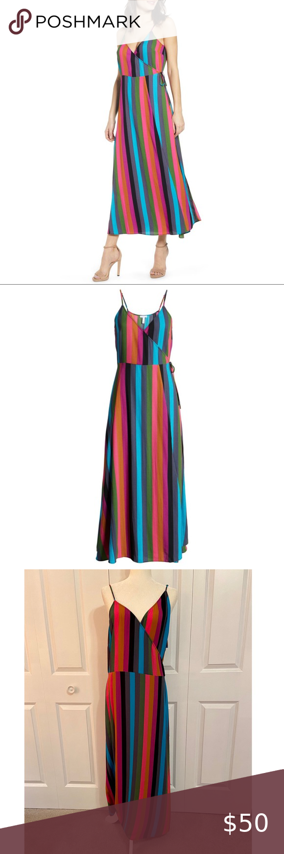 Nordstrom Leith Striped Maxi Wrap Dress 4x New Size 4x 26 28 True Wrap Dress Maxi Length Surplice V Neckline Adjustable S Maxi Wrap Dress Wrap Dress Dresses [ 1740 x 580 Pixel ]