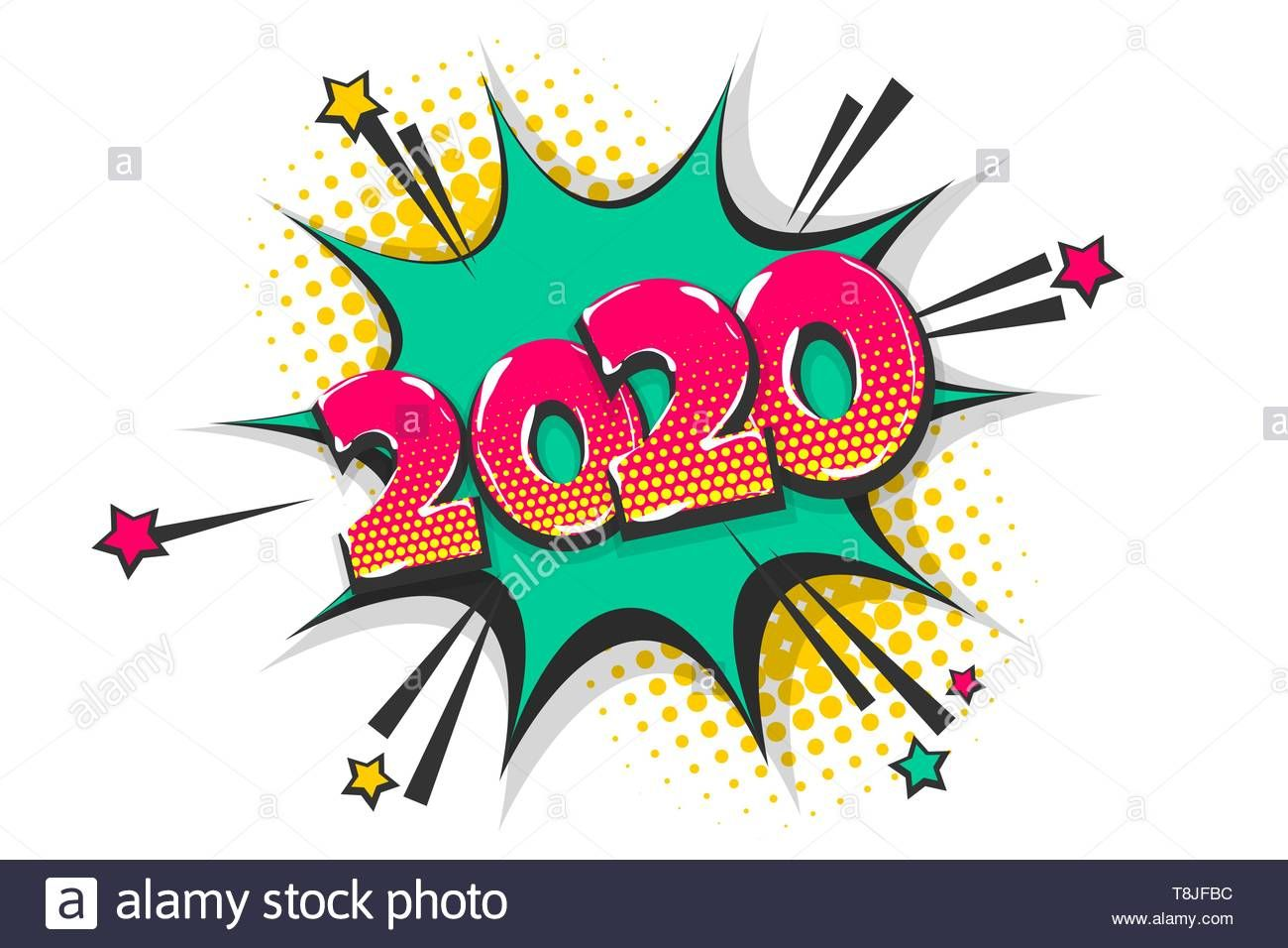Download this stock vector 2020 comic text speech bubble