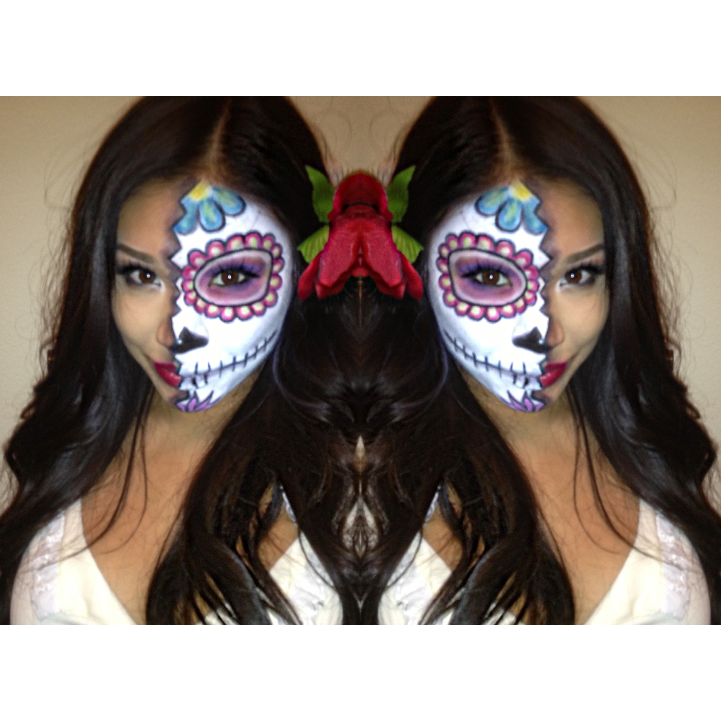 dia de los muertos day of the dead mexican sugar skull halloween makeup face paint half face - Halloween Day Of The Dead Face Paint