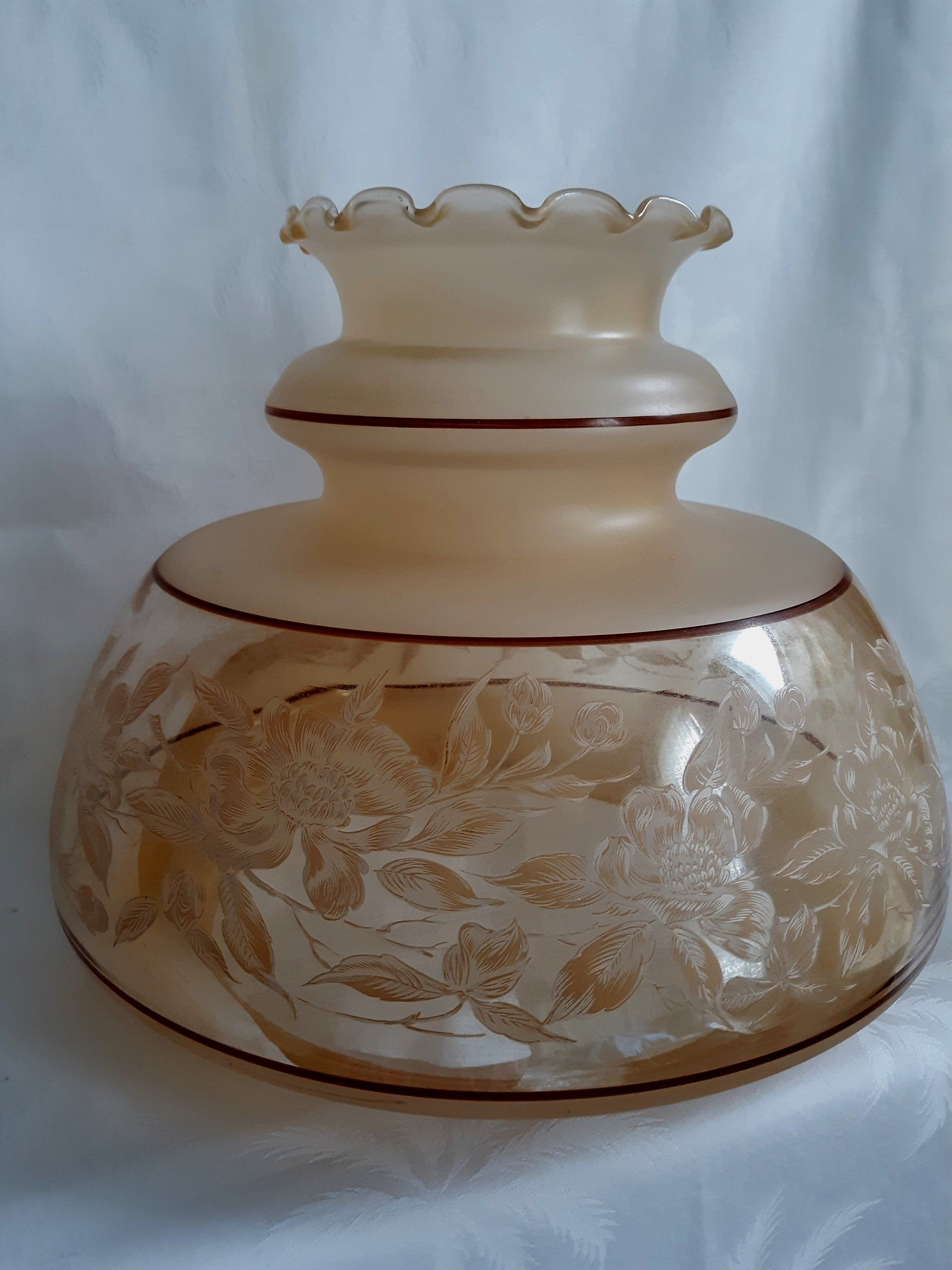 Rare Huge Gwtw Replacement Hurricane Lamp Shade Cream Clear