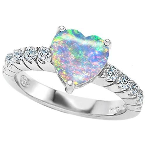 Original Star K 8mm Heart Shape Created Opal Engagement Ring (I LOVE opals, but not created ones... the colors here are pretty though, but it just means so much more when it's beautiful naturally.)