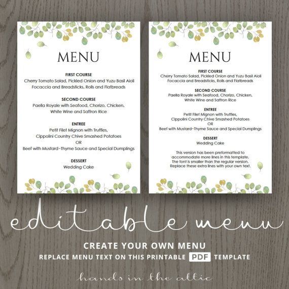 Printable Wedding Menu Template Instant Download Editable Card Diy Ideas Leaves Collection DIGITAL By HandsInTheAttic