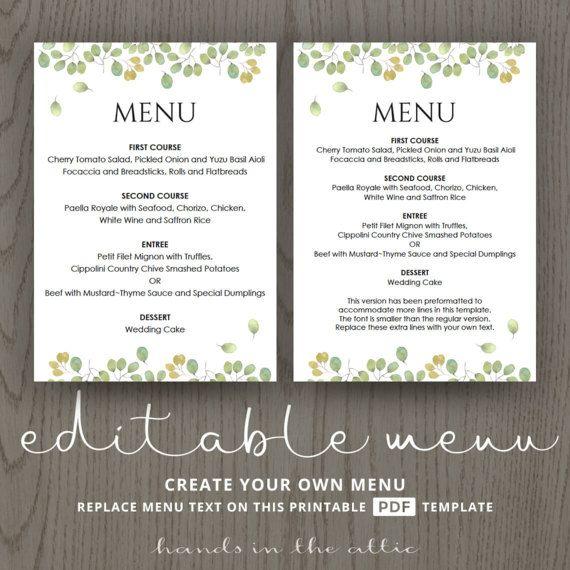 Printable wedding menu template instant wedding menu download - wedding menu template
