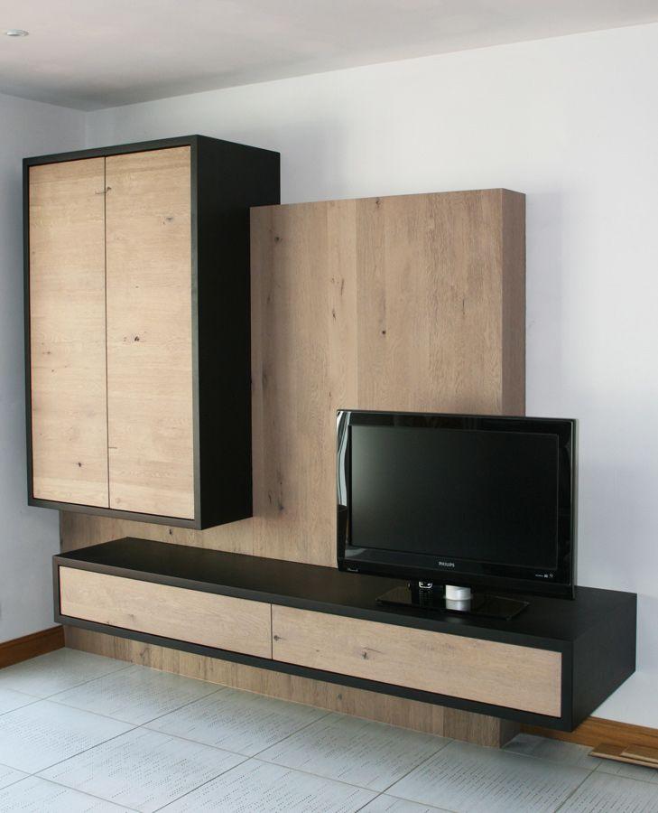 meuble tv hi fi en ch ne massif blanchi noeud et. Black Bedroom Furniture Sets. Home Design Ideas