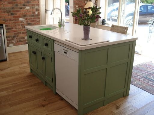 great compact kitchen island with belfast sink and a dishwasher