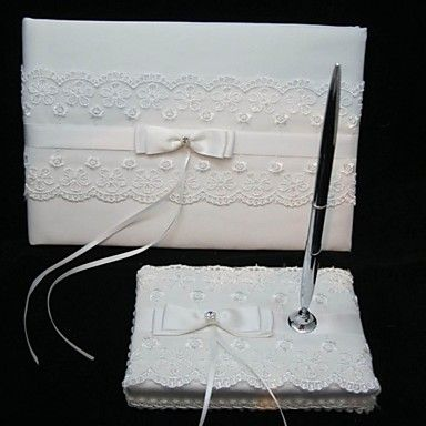 Elegant Wedding Guestbook And Pen Set With Lace Sign In Book – USD $ 24.99
