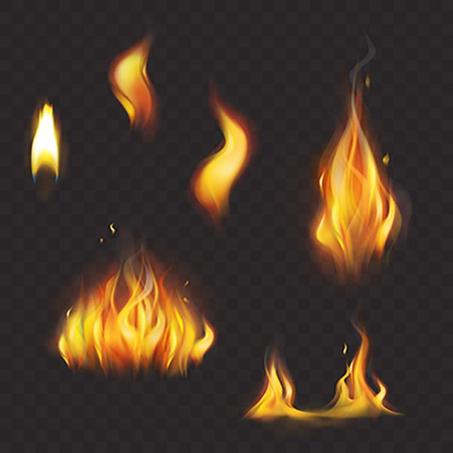 Set Of Realistic Flame Tongues Isolated On A Dark Background Fire Clipart Fire Flame Png And Vector With Transparent Background For Free Download Fire Photography Flame Art Dark Backgrounds