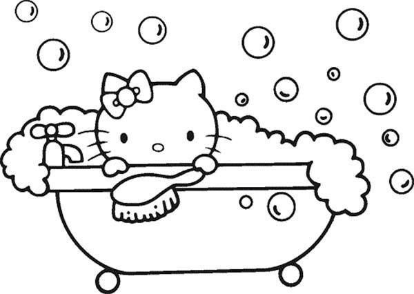 Bath Hello Kitty Bubble Bath Coloring Pages Hello Kitty Bubble