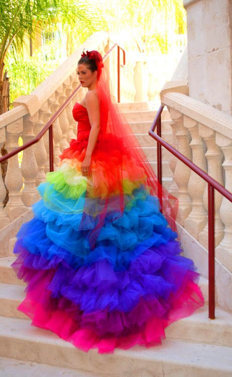 Cool colorful strapless wedding dress wedding dress with for Colored beach wedding dresses