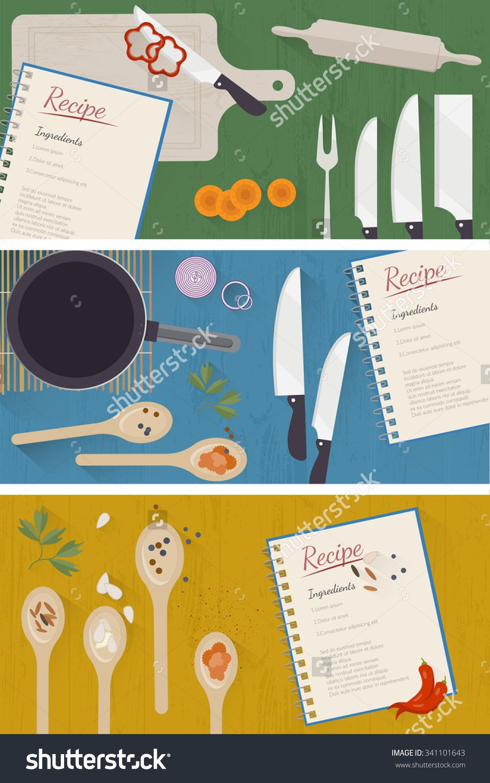 Vector Cooking Time Illustration With Flat Icons. Spices And ...
