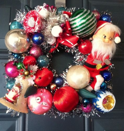 9 Inch Square Wreath Santa Stencil Christmas Ornament corsage indent lightbulb