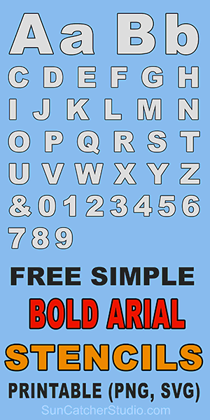 Bold Letter Stencils, Number, and Alphabet Templates (Arial