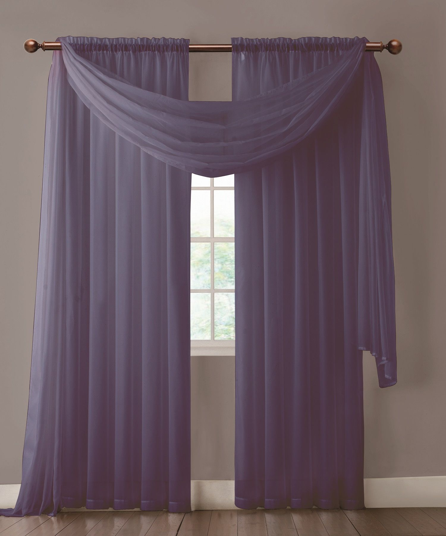 Warm Home Designs Pair Of Indigo Navy Blue Sheer Curtains Or Extra Long Window Scarf
