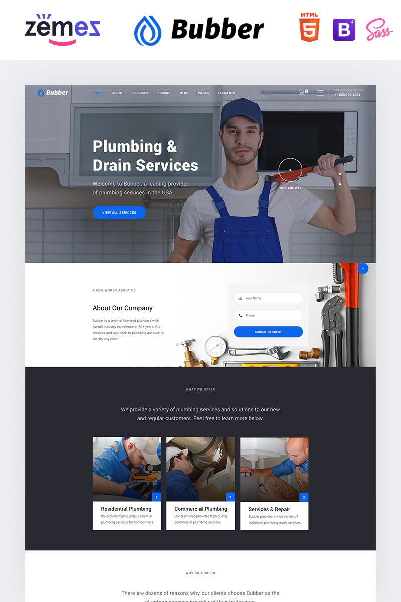 Bubber Plumbing Company Website Template In 2020 Website Template Plumbing Companies Best Website Templates
