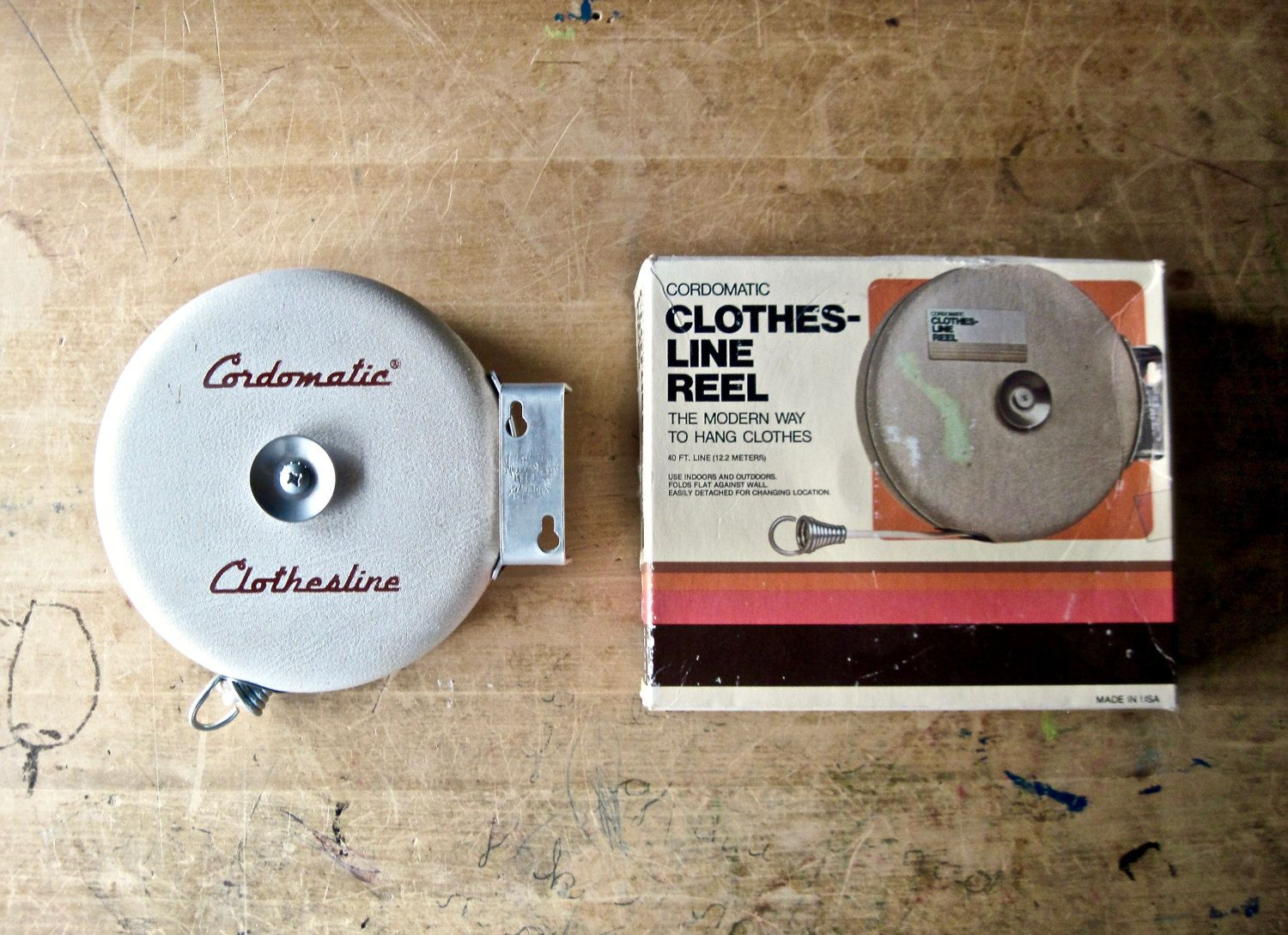 Vtg Cordomatic Clothesline Replacement Parts Decor Retractable Reel Camping Outdoor Sports