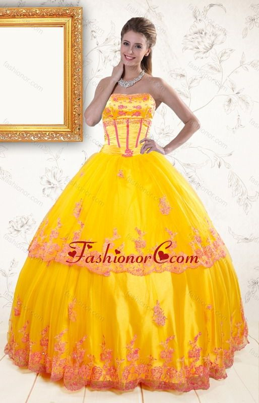 006d3c2a63c 2015 Exquisite Strapless Gold Quinceanera Dresses with Appliques XFNAO431FOR