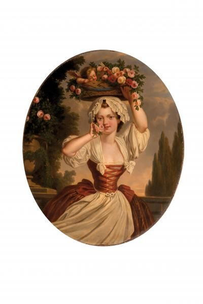 Woman with flowers, 18th century, French school