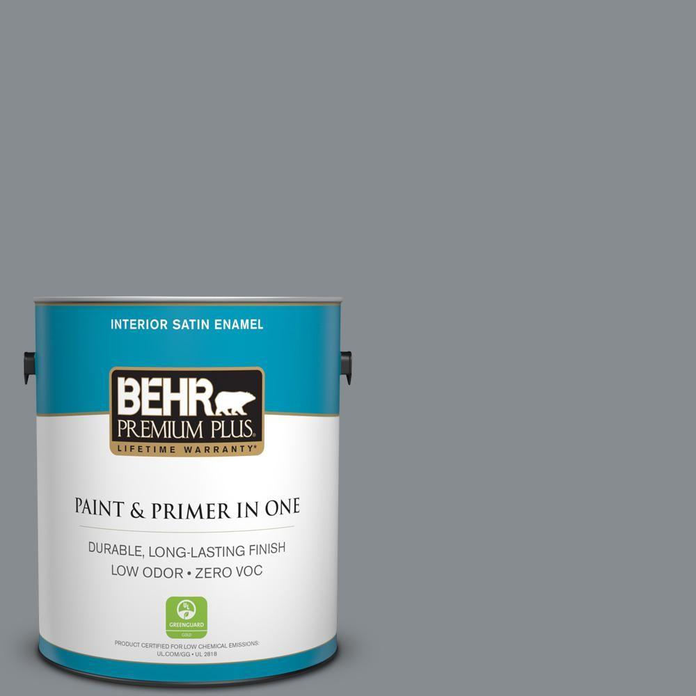 BEHR Premium Plus 1-gal. #pmd-73 Ancient Pewter Zero VOC Satin Enamel Interior Paint