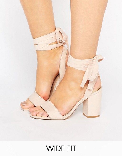 05a4e89b1189 ASOS HOLDING ON Wide Fit Tie Leg Sandals  Faux-suede upper Tie-leg  fastening Open toe High block heel Lining Sock  100% Other Materials