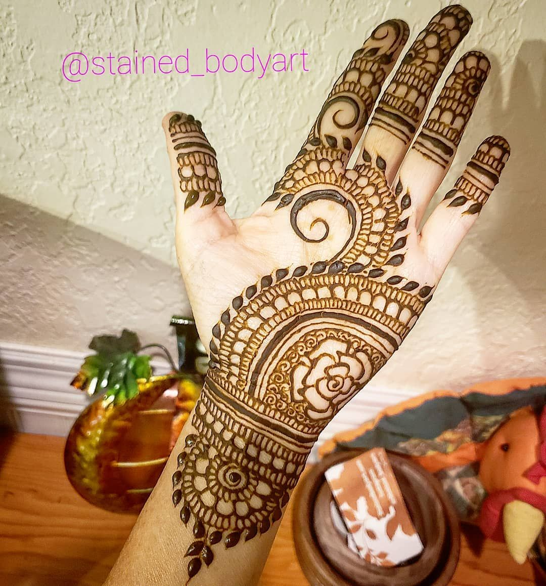 Simple Palm henna design , for more visit the Stained