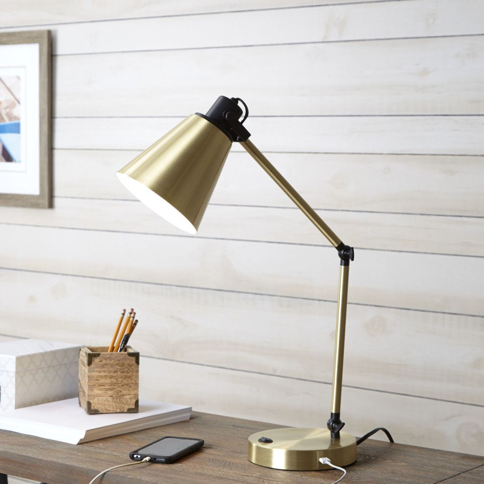 32 Pieces Of Decor From Walmart That Ll Serve You Style And Function Metal Desk Lamps Desk Lamp Gold Desk Lamps