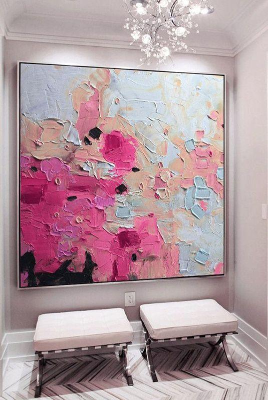 Große rosa Goldblaue abstrakte Malerei der Kunst pinkfarbene abstrakte Malerei der blauen Fuchsie abstrakte Landschaftsmalereikunst – Merys Stores