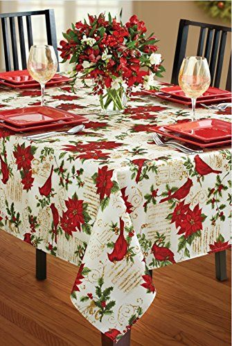 Benson Mills Holiday Cardinal Printed Fabric Tablecloth Https Www Amazon Com Dp B00g64caxe Ref Cm Christmas Table Cloth Tablecloths For Sale Table Cloth