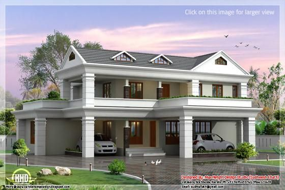 2 Storey Sloping Roof Home Plan Kerala House Design Beautiful House Plans Architecture House