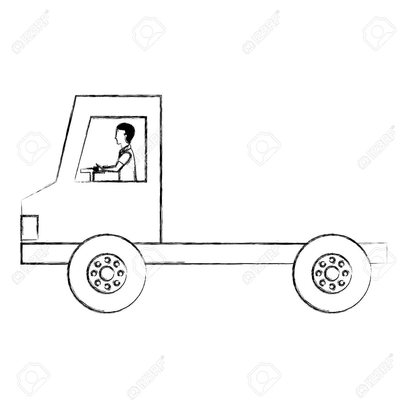 Delivery Truck Vehicle With Driver Illustration Aff Truck