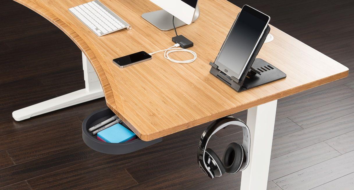 60x30 Bamboo Curve Desk On A White Uplift V2 Standing Frame Uplift Desk Curved Desk Desk