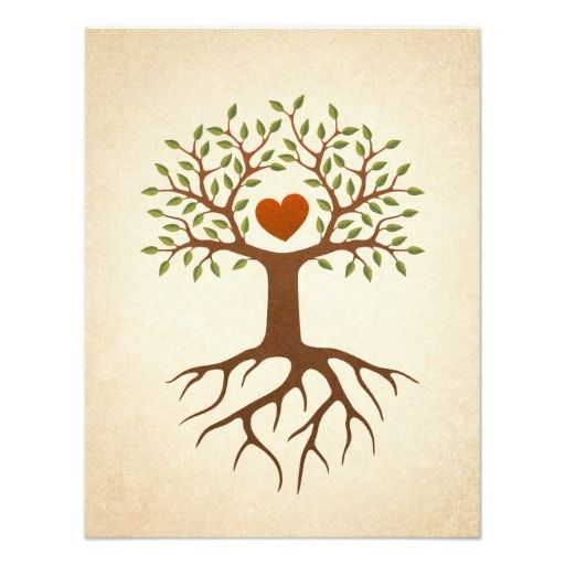 Tree with heart and roots family reunion invite