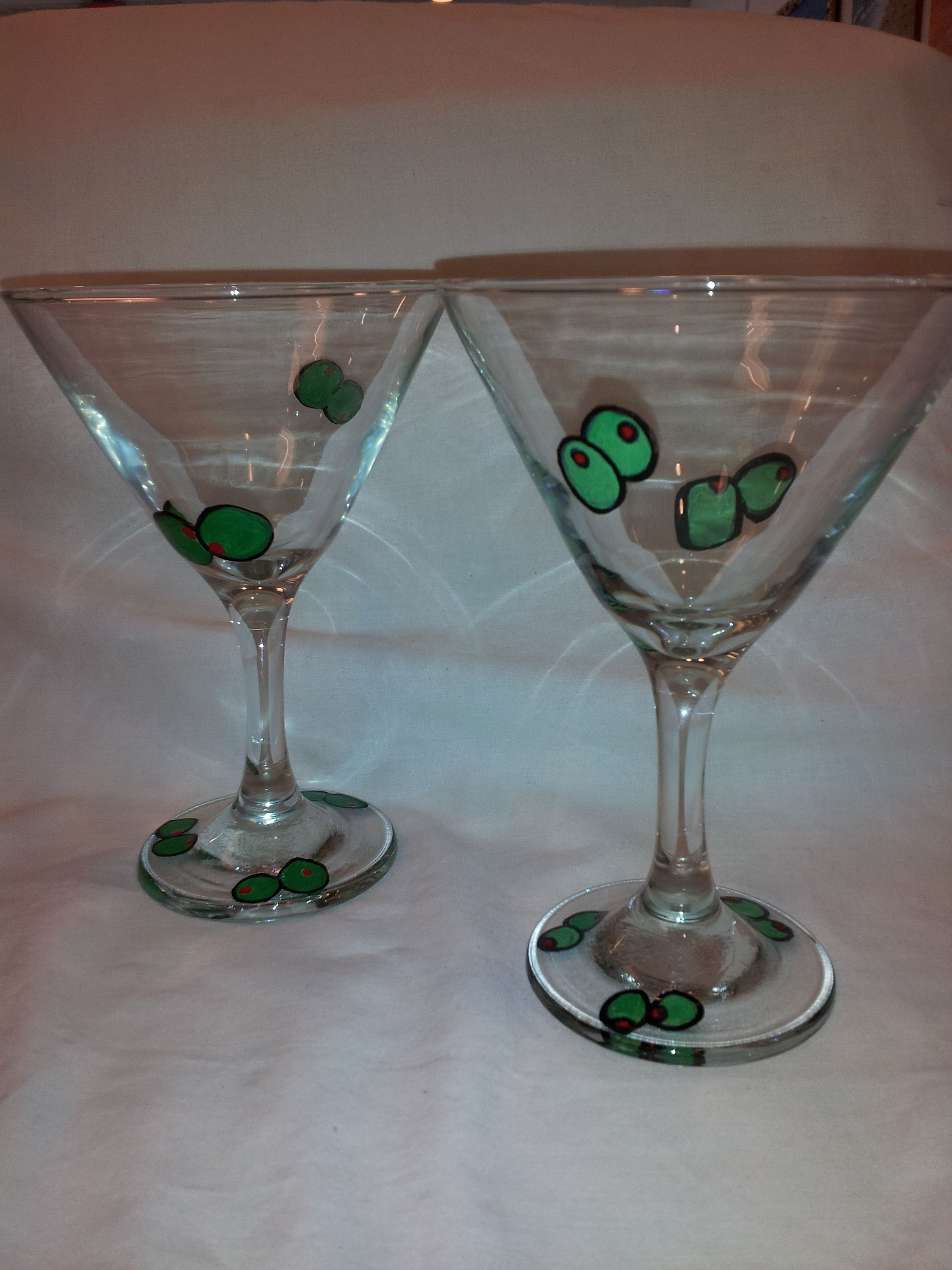 Hand painted Olive Martini Glasses, set of 2 $35. harrisartstudio.com