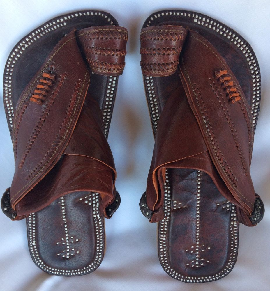 NEW Saudi Sandals Mens Leather Brown Arabic Shoe US Size 10.5 Islamic Arabian  #Unbranded #ArabicSandal