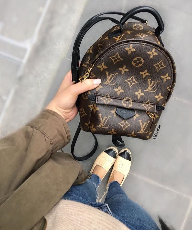 f338d28e90fe Louis Vuitton Mini Palm Springs backpack and Chanel espadrilles ...